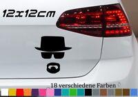 Silhouette 12x12cm Mann mit Hut Tuning Aufkleber JDM Sticker Breaking Bad GTI VW