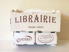 French Wooden Shabby Chic Vintage Ivory Cream Toilet Roll Holder