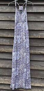 CYNTHIA ROWLEY Blue/White Stretch Jersey Faux Wrap Maxi Dress, Size M