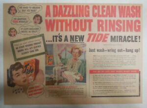 Introducing Tide Detergent Ad: A Dazzling Clean Wash without Rinsing! Ad 1949