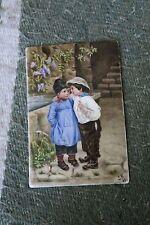 Antique Circa 1895 European Hand Painted Porcelain Plaque Painting~ Boy & Girl