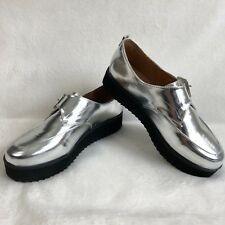 NEW! QUPID Women's Shoes Silver Metallic Low Black Platform Monk Buckle 6.5