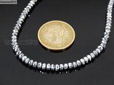 Hematite Gemstone 2mm 3mm 4mm Faceted Rondelle Beads 16'' Metallic Silver Gold