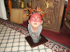 Superb Native American Indian Bust Sculpture Of Boy W/Mohawk-Lifelike-Large