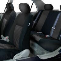 Solid Black Mesh Car Seat Covers Front Rear Full Set For Sedan Car SUV Van