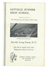 Sayville Summer High School Long Island NY Brochure July 1945
