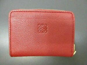 Authentic LOEWE Coin Purse Leather Red 87109