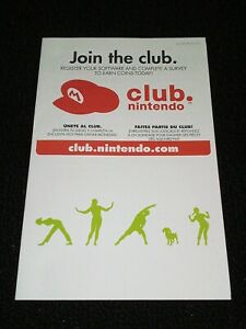 Wii Fit Plus Nintendo Club Wii 2009 ORIGINAL Registration Insert ONLY OEM CLEAN