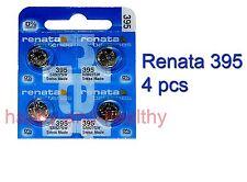 Renata SR927SW 395 Silver Oxide button Battery x 4 pcs Swiss Made FREE Post