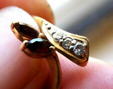 Diamond Ruby 14 Kt Yellow Gold Ring Stunning .50 CTW Deep Red Rubies Firy Whites