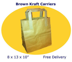 """Brown Kraft Paper Carrier Bags 8 x 13 x 10"""" Tape Handle, New, Wholesale"""