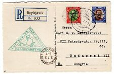 Si 114B. Iceland Zeppelin Flight Registered Card Reykjavik to Budapest Hungary