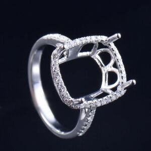 Cushion 13x11mm Natural Diamond Women Engagement Ring Setting 14K White Gold