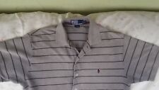 Ralph Lauren Polo Men's Tan/ Black Custom Fit Golf Shirt Maroon Pony Size S