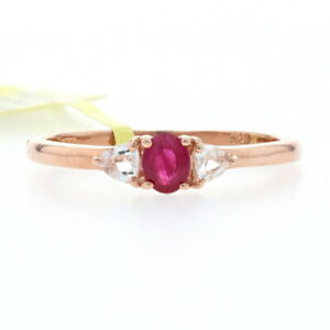 Silver Ruby & White Topaz Ring - 925 Rose Gold Plated Oval Cut .64ctw Size 8