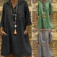 UK Oversize Women Summer Buttons Collared Mini Shirt Dress Ladies Autumn Kaftan