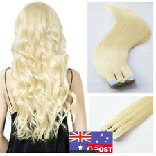 Invisible Seamless Tape in Weft Remy Human Hair Extensions Platinum Blonde18Inch