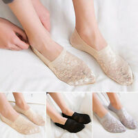 Women Summer Antiskid Invisible  Loafer Lace Boat Liner Low Cut Cotton Socks C