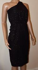 VICKY MARTIN black gold glitter polka dot cocktail party dress BNWT 8 RRP £160