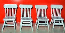 4 WHITE CHAIRS DOLL HOUSE FURNITURE MINIATURES