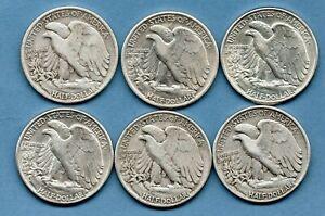 6 X USA SILVER HALF DOLLAR COINS, 1941 - 1947. PHILADELPHIA MINT. JOB LOT.