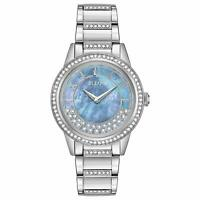 Bulova Women's Quartz Crystal Accents Silver-Tone Bracelet 32mm Watch 96L260