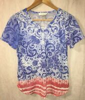 Christopher & Banks Petite Small PS Red White Blue Tee Knit Top Shirt Lace