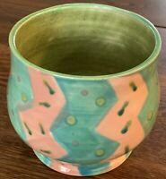 Studio Art Pottery Vase Aqua Pink & Green 4.5 X5 In signed Kurlychek