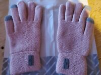 PAGE ONE Womens Warm Winter Non Slip Touchscreen Knit Gloves Warm Fleece Pink