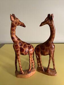 Holzfigur Giraffe ca. 22 cm handgeschnitzt  2 Giraffen