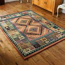 Gabbeh Tribal Rugs Multi Colour Rust Green & Blue Wool Look 120x180cm 51c