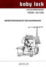 BABY LOCK BL4-605 Service manual MANUAL ON CD / PDF or Download