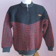 VTG Mens DEVOLD Black/Red Zip Neck Pure Wool Mix Nordic Jumper Size Medium (E36)
