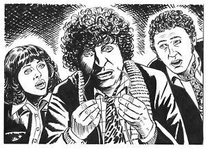 DOCTOR WHO ORIGINAL ART: THE DOCTOR, SARAH JANE & HARRY BY SCOTT GRAY