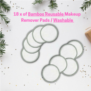 18pcs Reusable Makeup Remover Pad Bamboo Cotton Pads Washable w/ Laundry Bag UK
