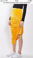 Topshop Boutique Yellow Ruched Velour Skirt 16