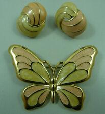 Vintage TRIFARI Pink Gold Tone Enamel Butterfly Brooch Pin & Earrings Jewelry
