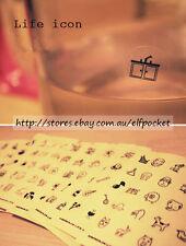 Life Icon Music Love PVC Sticker Scrapbook Card DIY Diary Decoration Set of 10