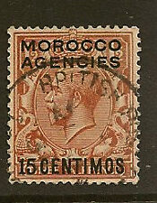 MOROCCO AGENCIES : 1925 15 centimos on 11/2d Block Cypher SG 145 used