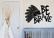 Be Brave Headdress Feathers Boho Bohemian Wall Decal Sticker