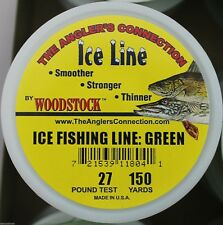 WOODSTOCK ICE FISHING TIP-UP LINE 27# TEST 150YD SPOOL GREEN BRAIDED NYLON