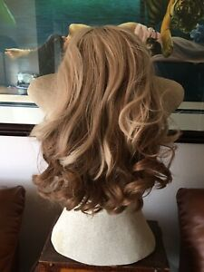 """100% Remy Human Hair Monofilament Blonde 18"""" Curly Long With Bangs Wig"""