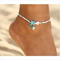 Fußkette SEESTERN & MUSCHEL Blau/ Weiß PERLEN DAMEN Fußkettchen Strand Sommer