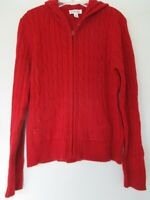 St. John's Bay Women's Size Small Long Sleeve Solid Red Zip-Up Hooded Sweater