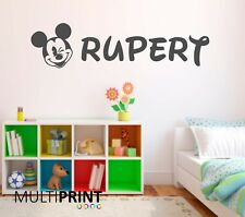 PERSONALISED Disney Mickey Mouse Wall Art Vinyl Sticker Childrens Bedroom BED3