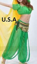 U.S.A Belly Dance Top Pants Belt Bollywood Harem Dancing Costume Bollywood Set