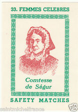 COMTESSE SEGUR ROMANCIERE FRANCE GENERAL DOURAKINE   MATCHBOX LABEL CARD