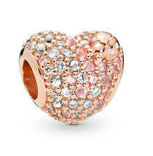 NEW Rose Gold Heart European Crystal Charm Pendant Beads Fit Necklace Bracelet -