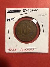 1945 England Half Penny World Coin Circulated #559