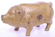 1930s DECKER'S IOWANA PORK SAUSAGE PROMO STANDING GOLD PIG CAST IRON PIGGY BANK
